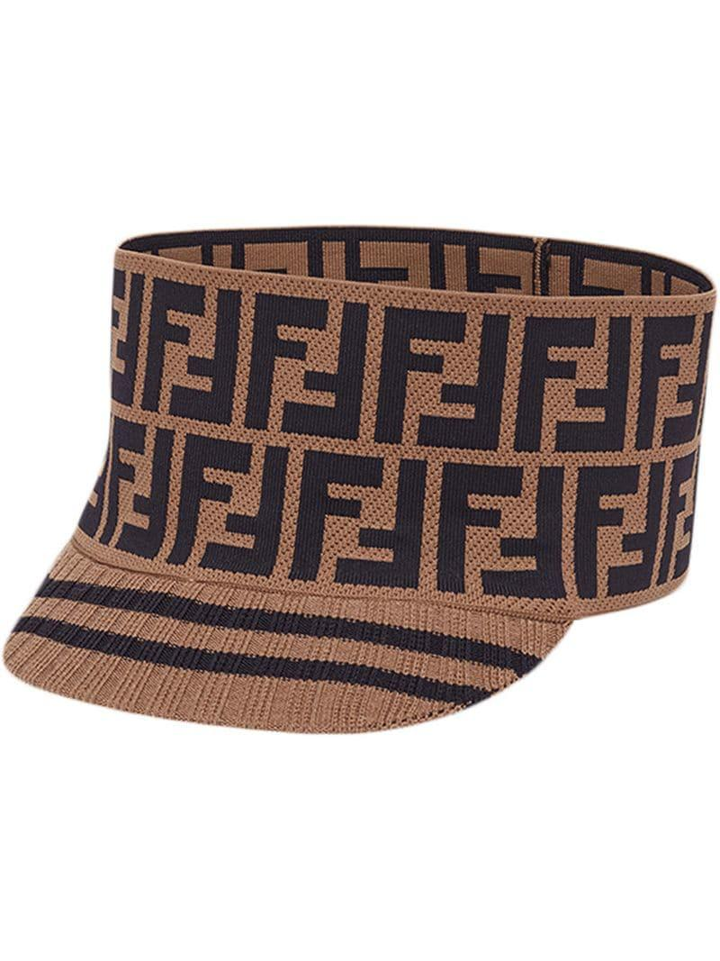 Fendi Knit Logo Wide Band Cap in Brown - Save 22% - Lyst e7da24be83bf