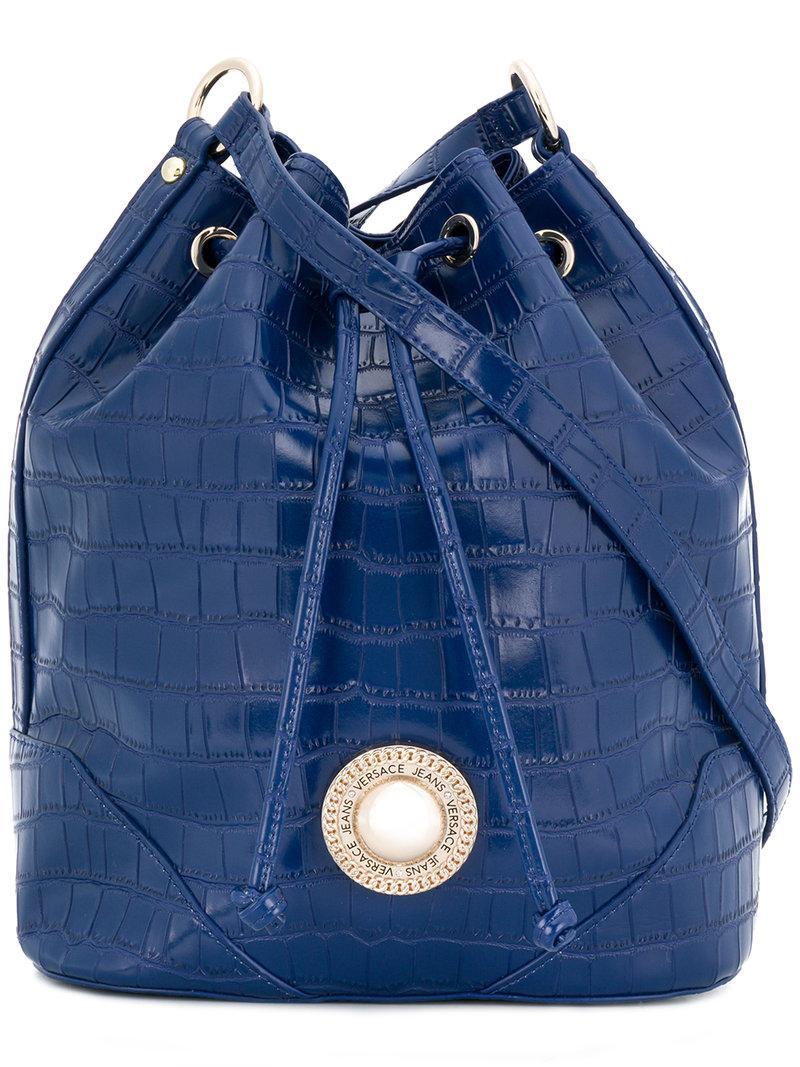 Lyst - Versace Jeans Croco Embossed Bucket Bag in Blue 968b663088