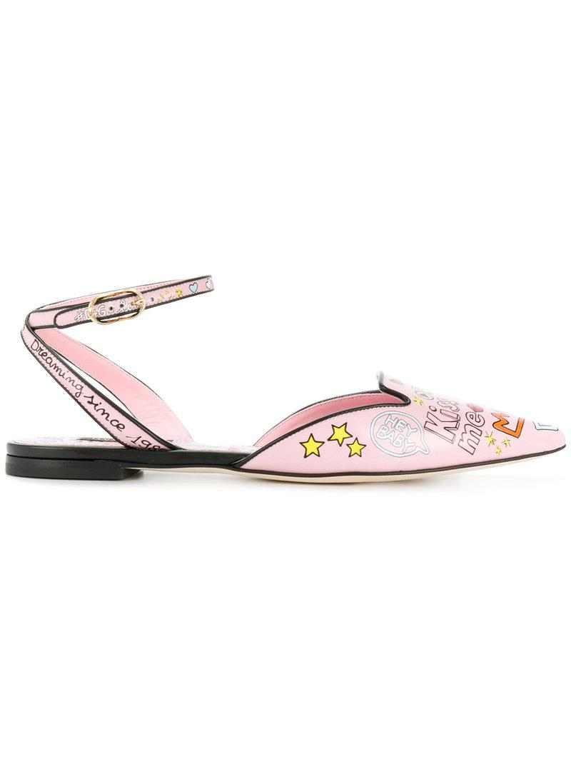buy cheap visa payment Dolce & Gabbana Bellucci mural print slippers cheapest price sale online bQSsRb55