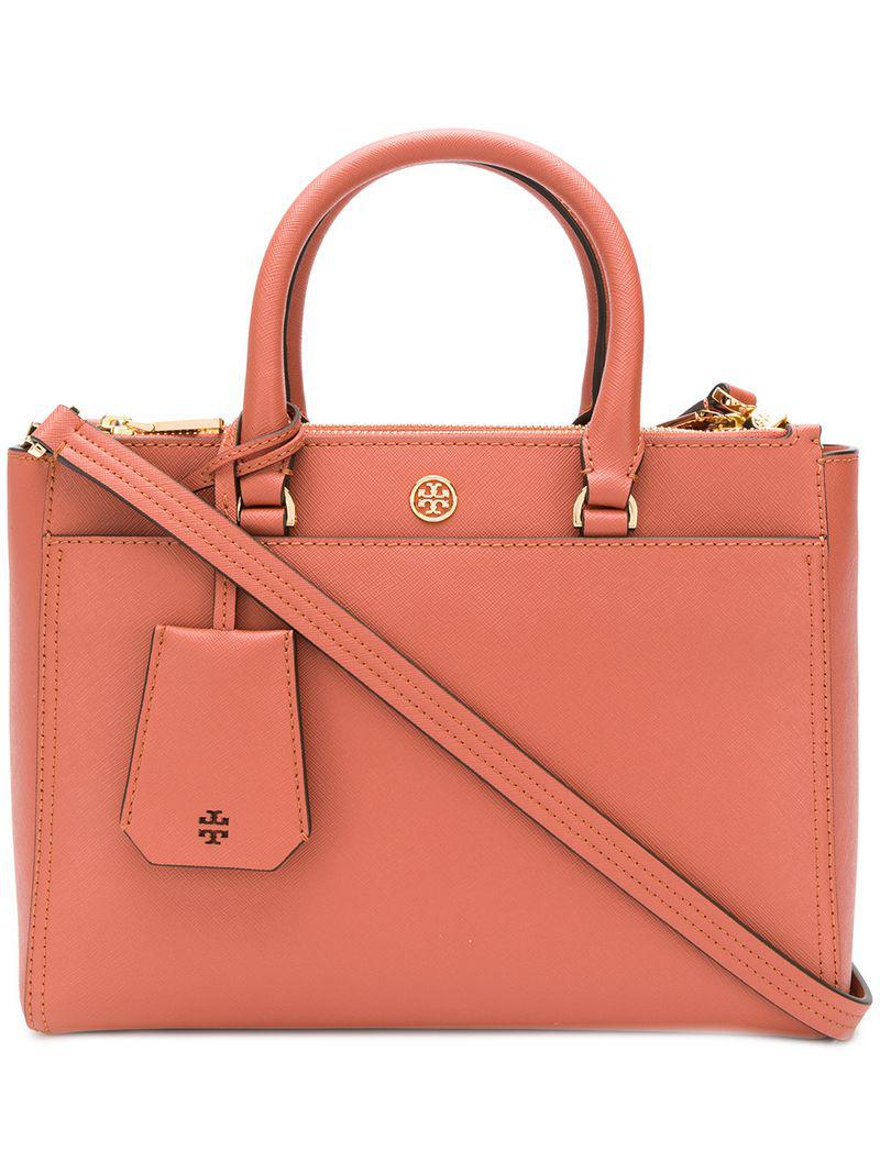 2e55c35c2493 Lyst - Tory Burch Robinson Small Double-zip Tote in Pink