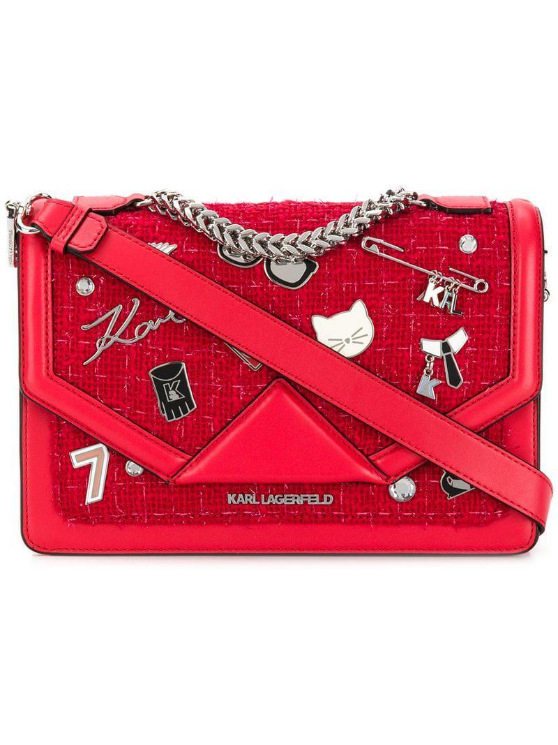 486569d308 Sac porté épaule K/Klassik Pins Karl Lagerfeld en coloris Rouge - Lyst