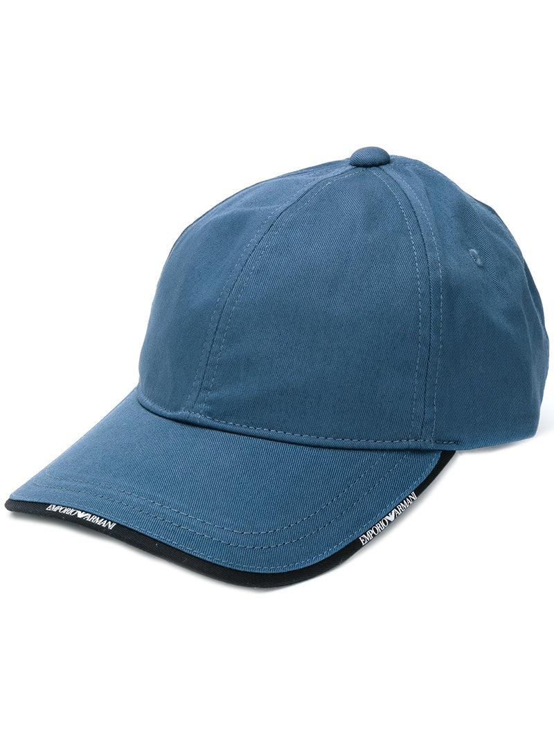 a0d5713acbbd8 Lyst - Emporio Armani Logo-trim Cap in Blue for Men