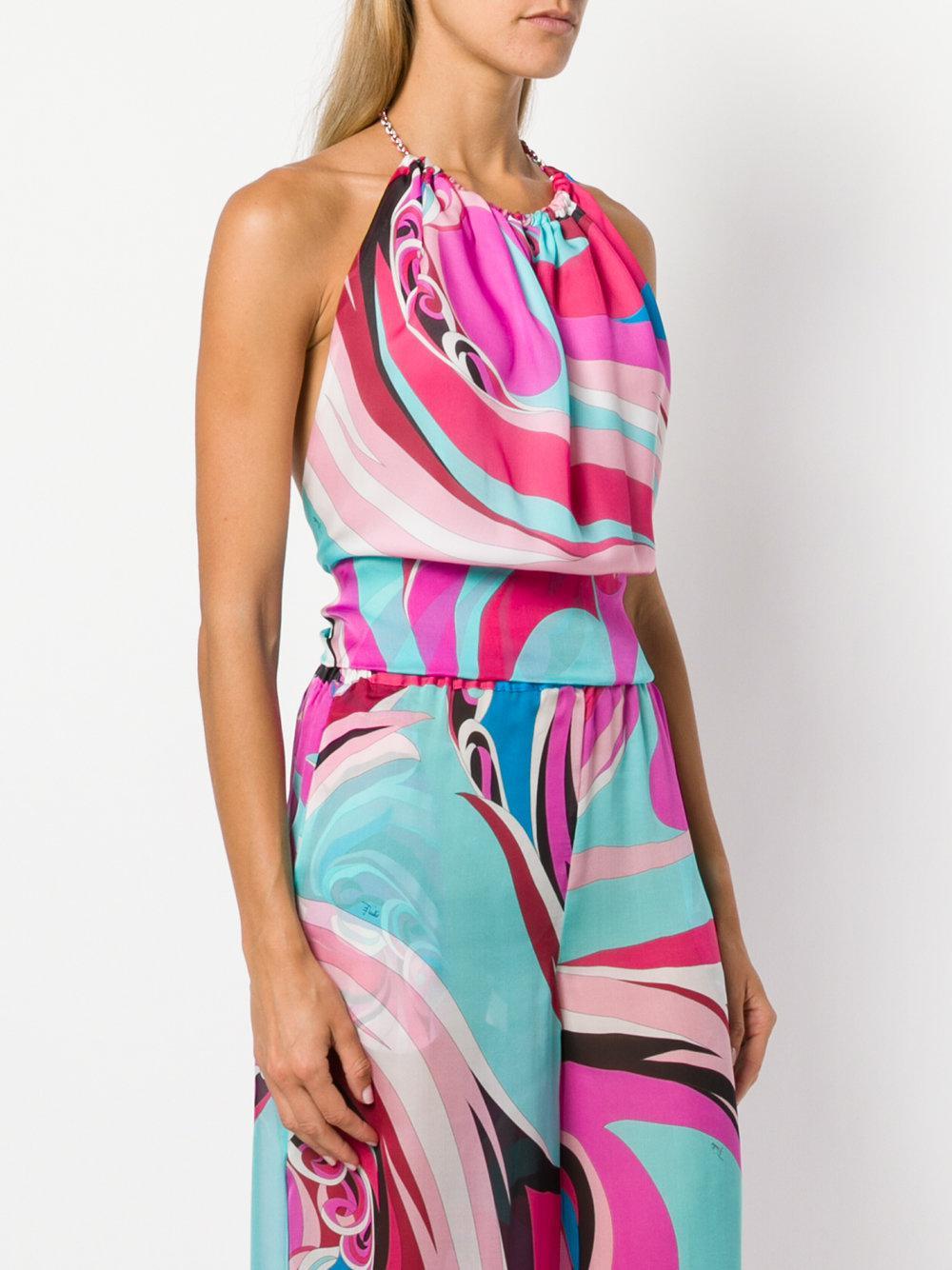 Buy Cheap Purchase abstract print halterneck blouse - Multicolour Emilio Pucci Discounts Sale Online Pre Order Outlet Collections OT2vP