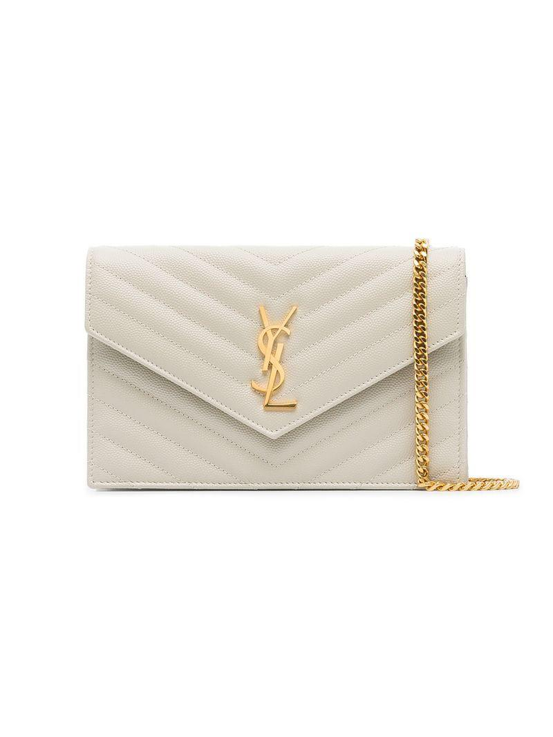 Lyst - Saint Laurent White Monogram Leather Cross-body Bag in White 32d716aa37e08