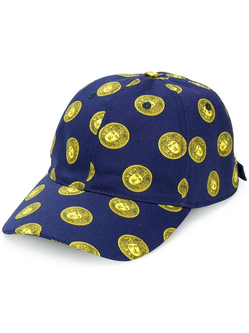 39ff27c7439 Versace Medusa Head Print Cap in Blue for Men - Lyst
