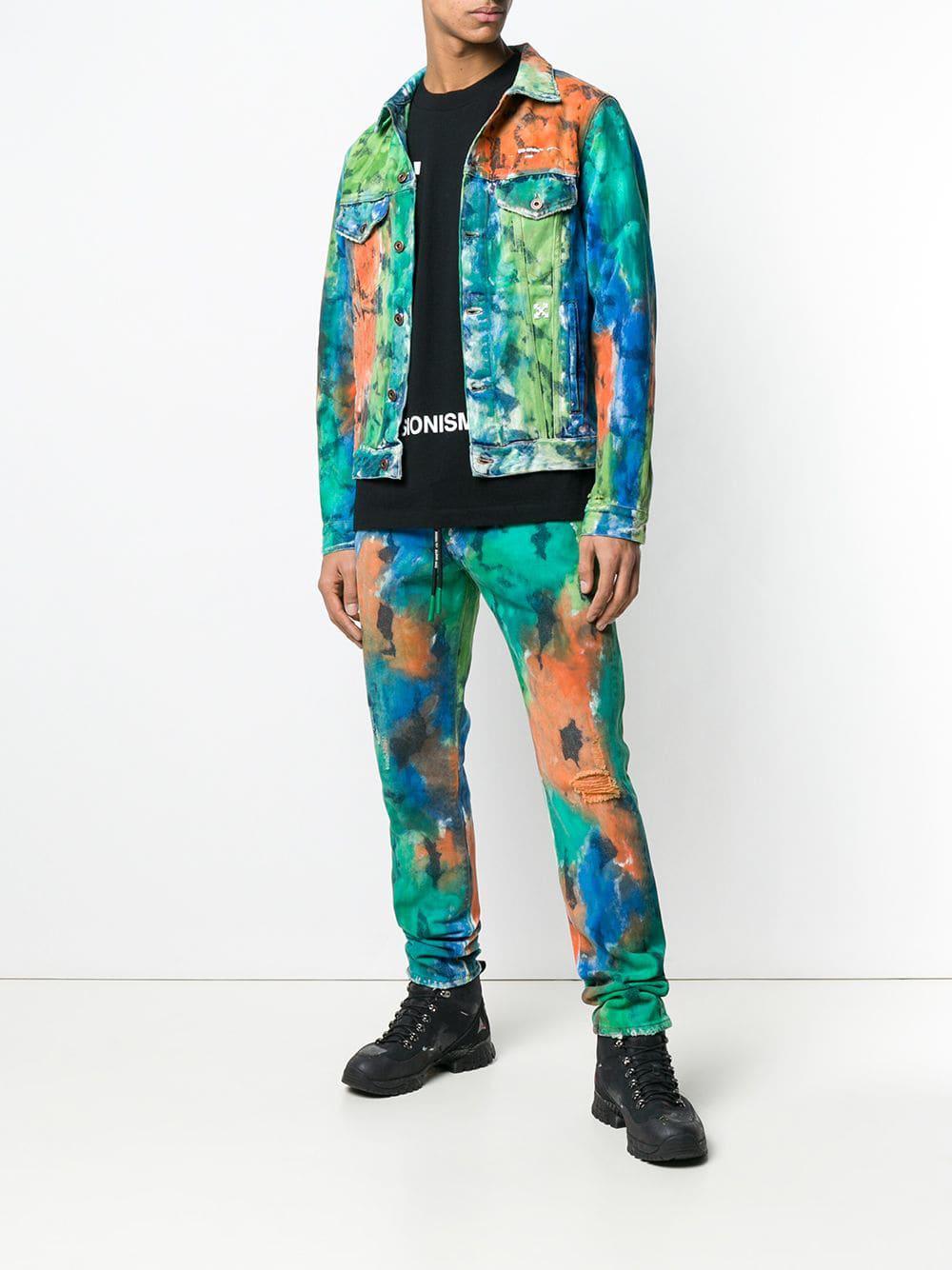 dd66483a3db Lyst - Off-White c o Virgil Abloh Paint Splattered Jeans in Blue for Men