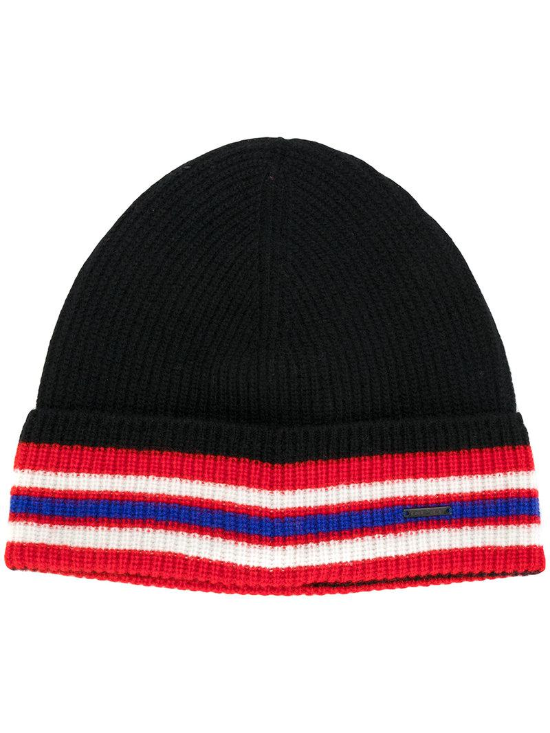 Lyst - Diesel Striped Trim Beanie in Black for Men f8a91dccbc92