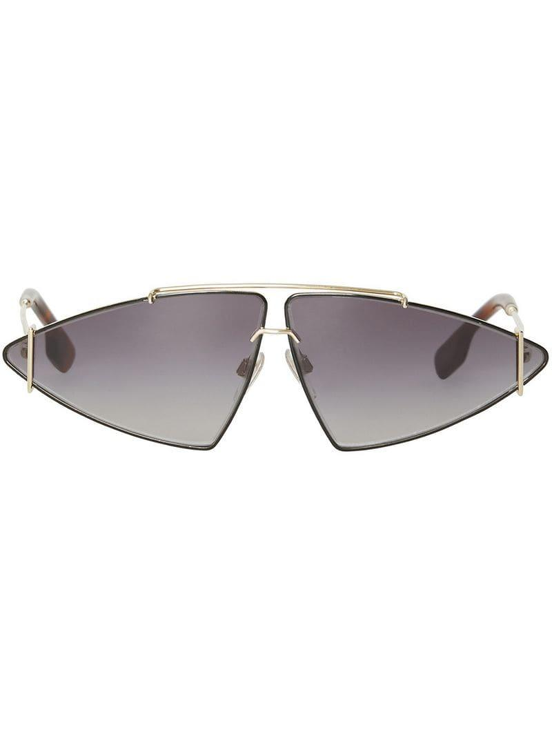 ec0e2ba1c Burberry Gold-plated Triangular Frame Sunglasses in Black - Lyst