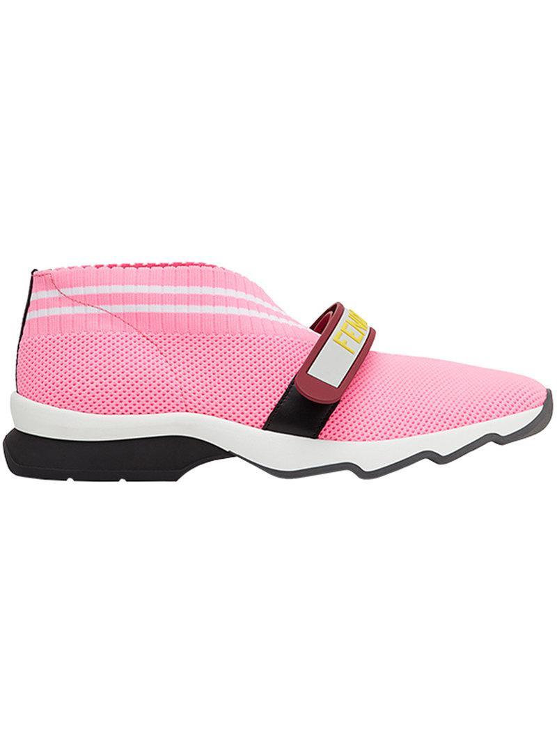 Fendi Chaussures De Sport Sangle Tactile Perforé - Rose Et Violet LFYtYCf