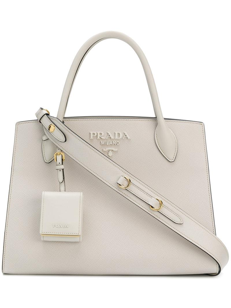 012d0ae32b56 Prada Bibliotheque Medium Tote Bag in White - Lyst