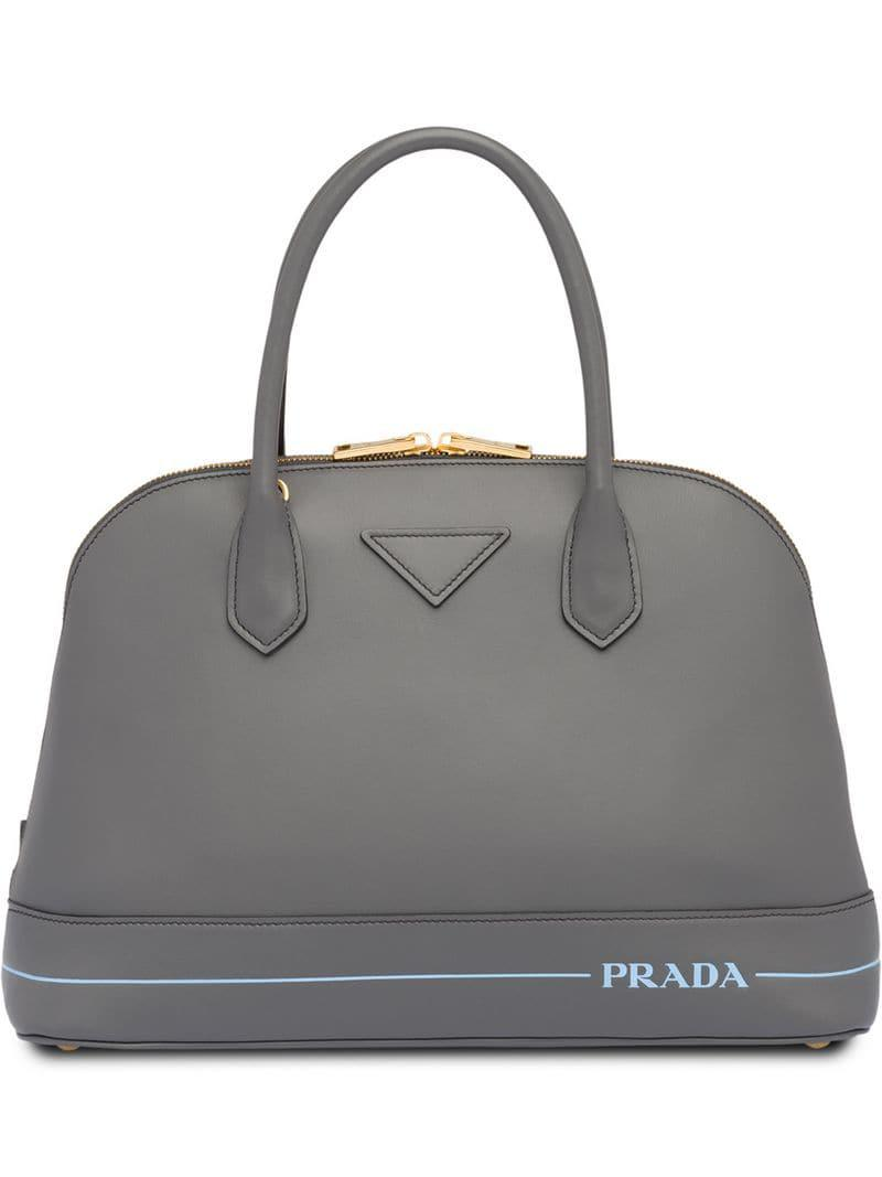 75ca6617997f Prada Mirage Large Leather Bag in Gray - Lyst
