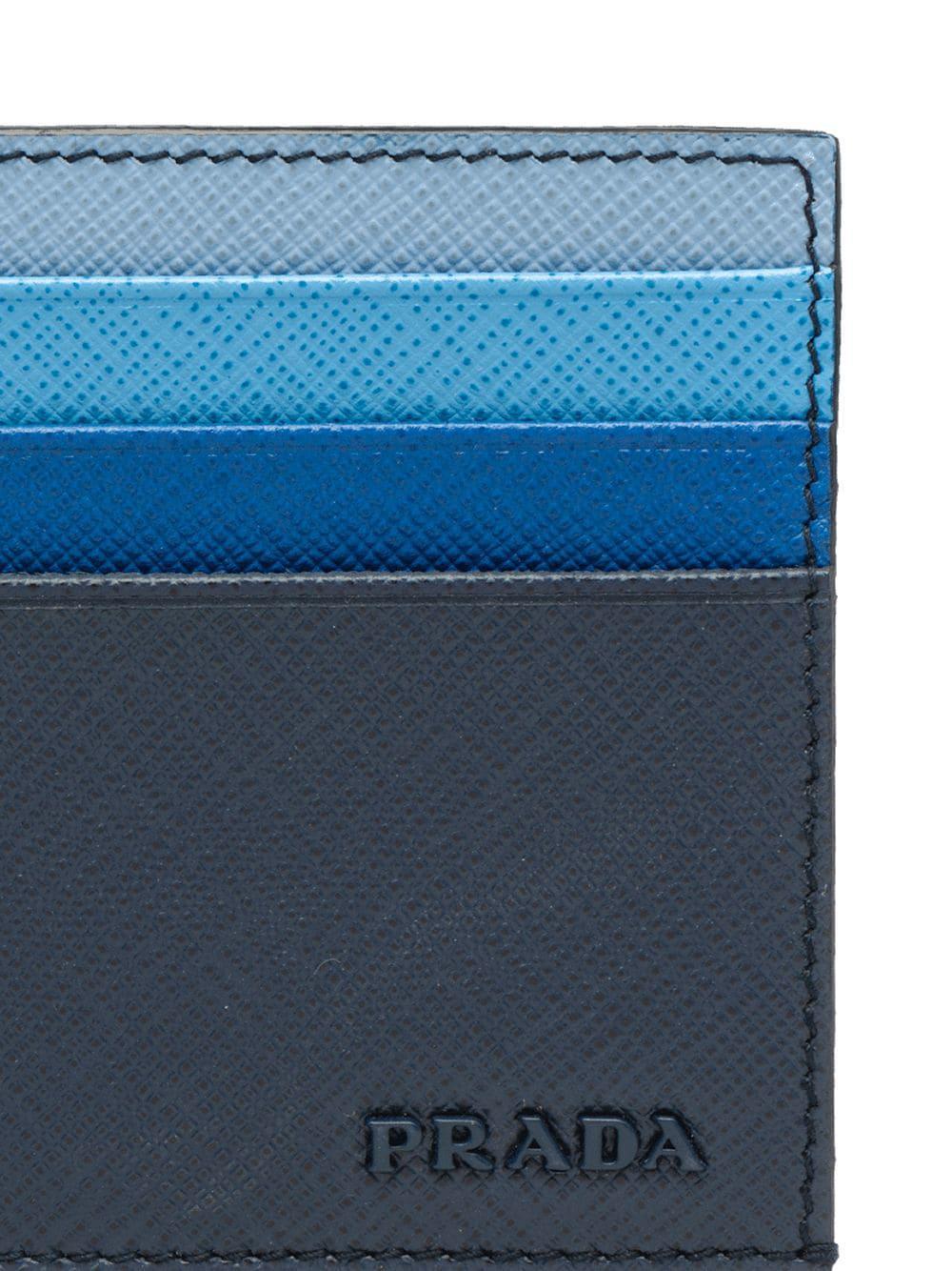 13261b58436de3 Prada - Blue Credit Card Holder for Men - Lyst. View fullscreen