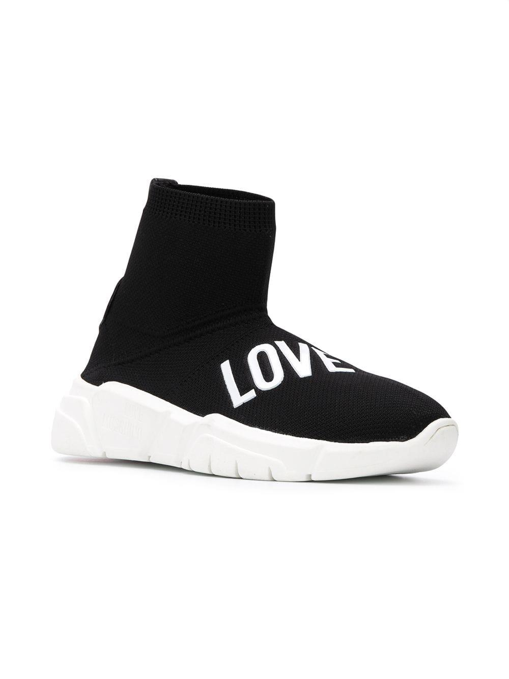133d72cfcae Lyst - Zapatillas love con calcetines Love Moschino de color Negro