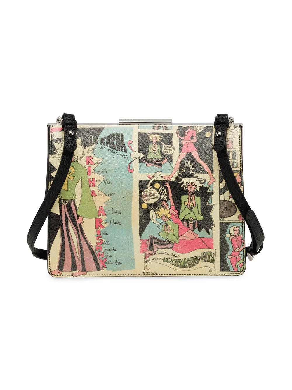 775e918a6c9620 Prada Comic Print Shoulder Bag in Blue - Lyst