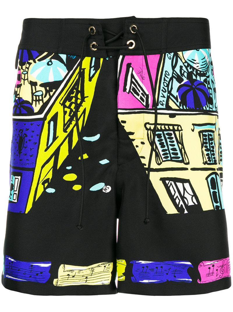 69fe100a035b Emilio Pucci Capri Print Shorts in Black - Lyst