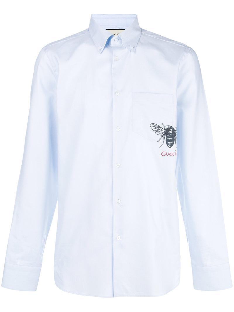 Lyst - Camisa con estampado de abeja Gucci de hombre de color Azul 7e92d5a23a7