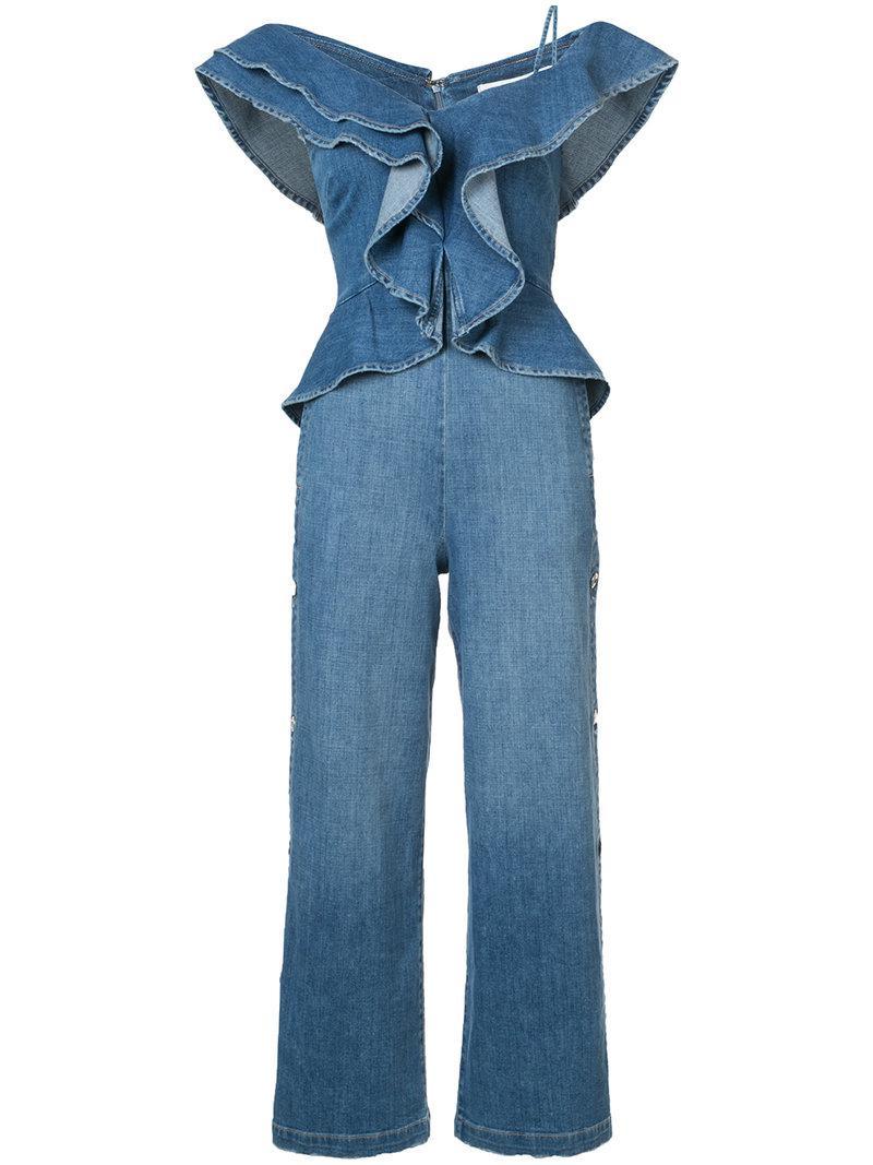 475d799cd127 Lyst - Jonathan Simkhai Denim Ruffle Top Wide Leg Jumpsuit in Blue