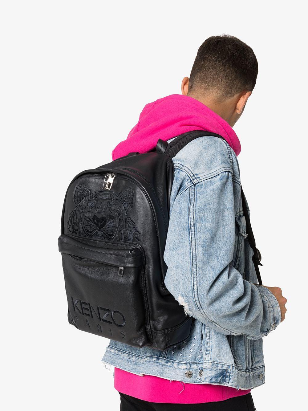 f688fda8 Lyst - KENZO Black Tiger Logo Embroidered Leather Backpack in Black for Men  - Save 7%