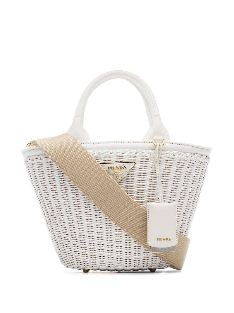 639ddba71fdb Prada White Middolino Straw Bucket Bag in White - Lyst