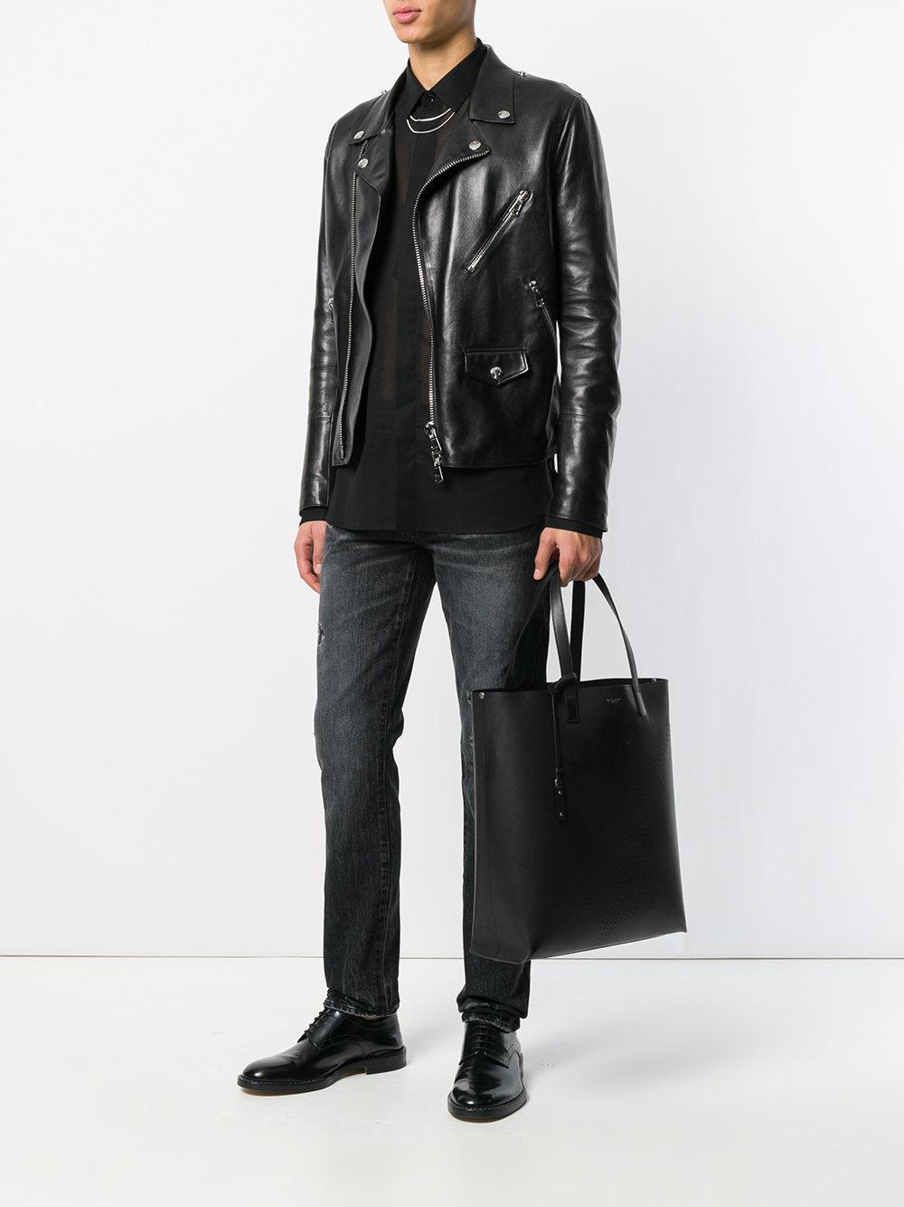 b3c3a014c9 Sac cabas à logo perforé Saint Laurent pour homme en coloris Noir - Lyst