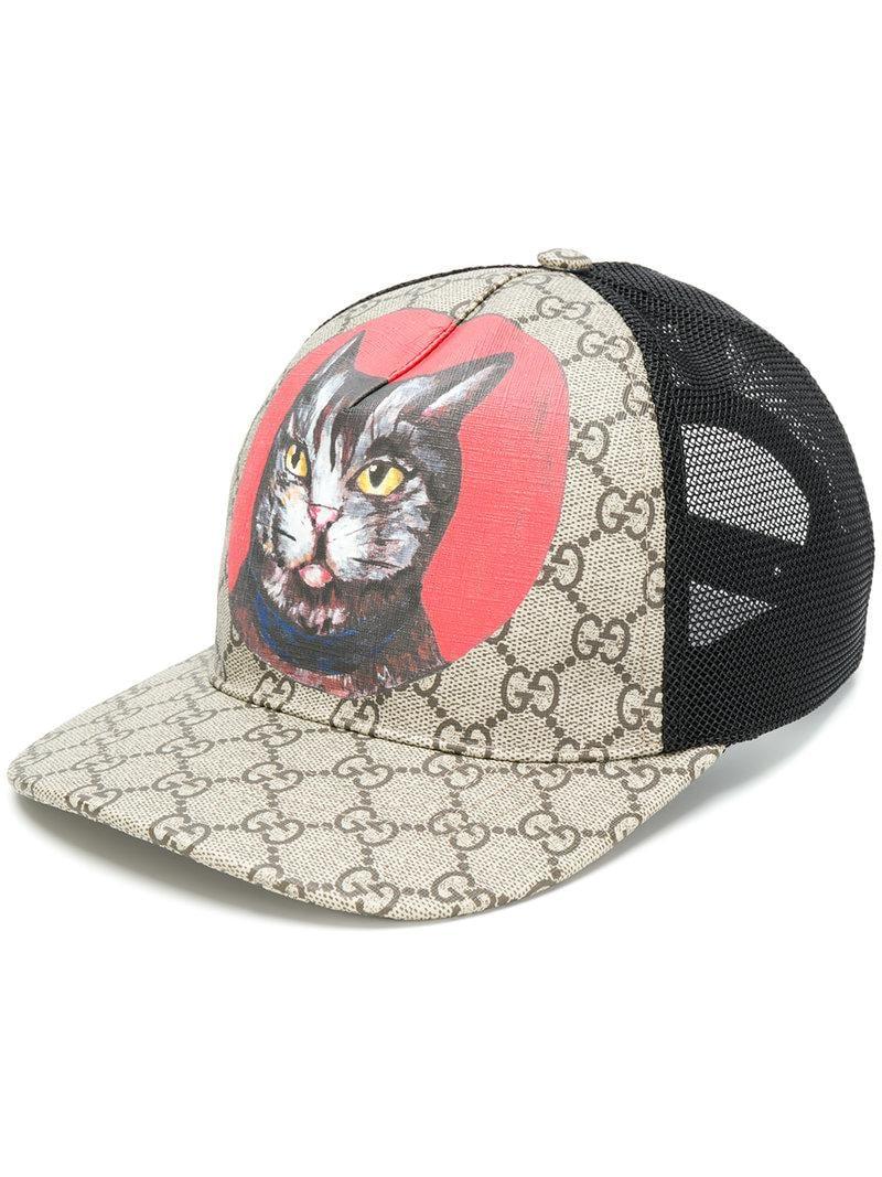 78c540a42b866 Gucci Cat Print Gg Supreme Cap in Brown for Men - Lyst