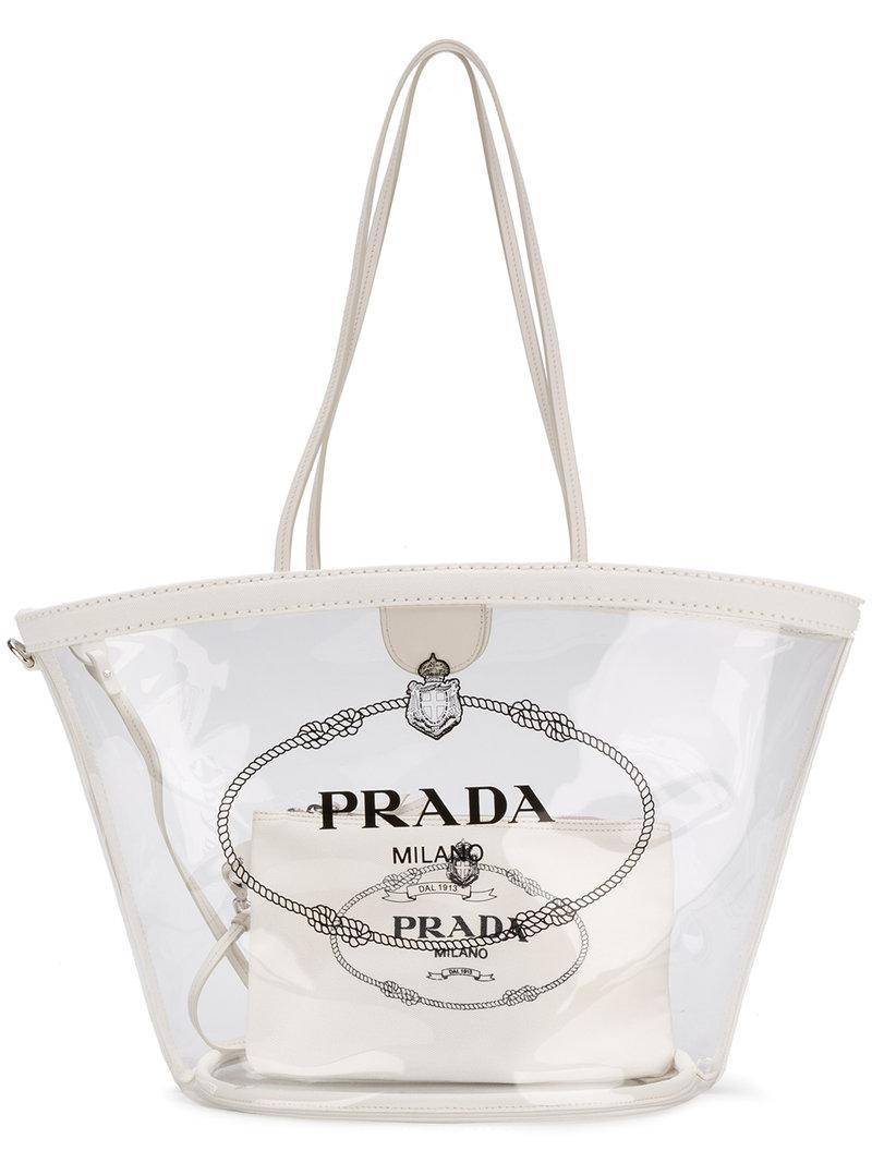670e530bceb1 Prada Transparent Logo Tote in White - Lyst