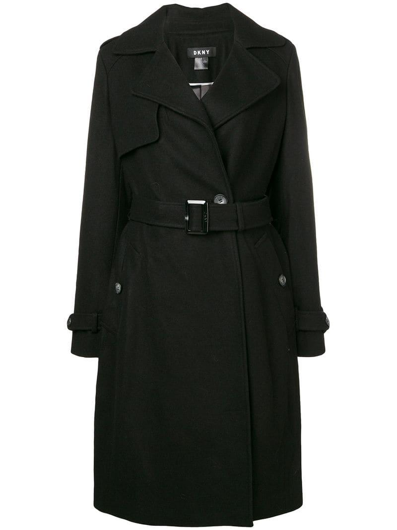 8cbad8c6c37 DKNY - Black Wrap Coat - Lyst. View fullscreen