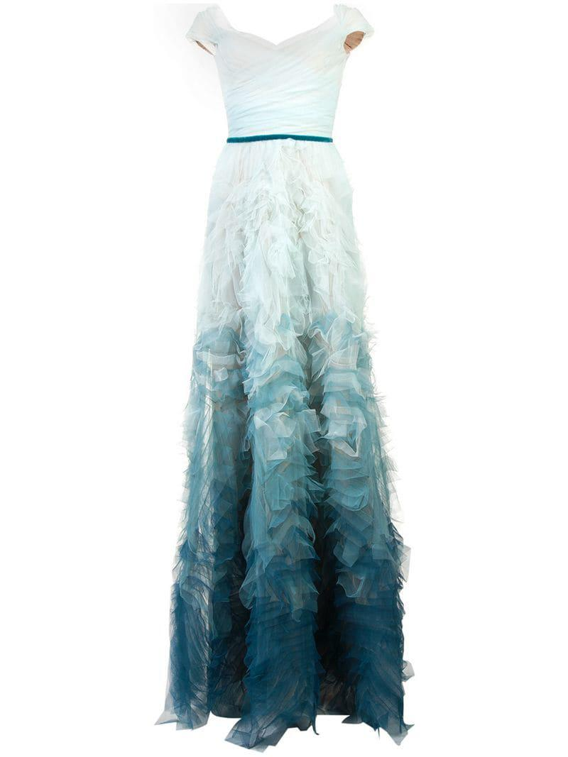 027d8a5fe9 Marchesa notte Fitted Ombré Gown in Blue - Lyst