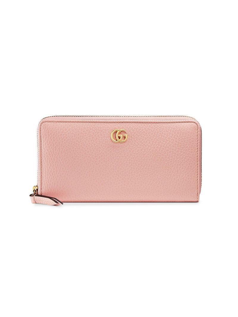 e33bda1d4c2baf Lyst - Gucci Leather Zip Around Wallet in Pink