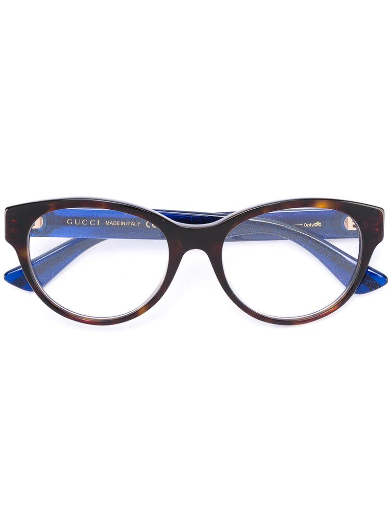 0f97664206 Lyst - Gucci Tortoiseshell Glasses in Blue