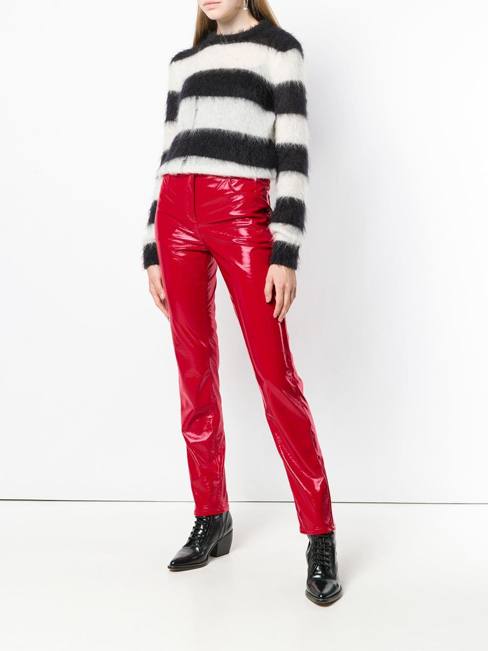 Fit Leather Slim Ferretti Trousers Lyst Faux Alberta In Red LzVqMpGjSU