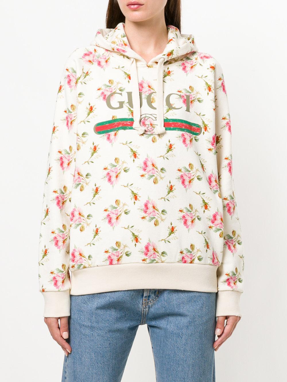 e455e4eea10 Lyst - Gucci Floral Logo Hooded Sweatshirt