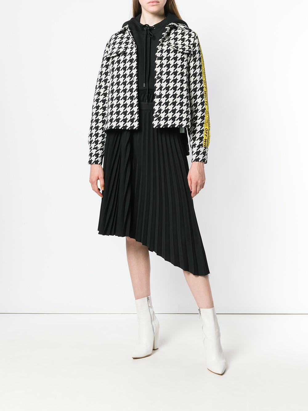 5c4d05d5a45ff Lyst - Off-White c o Virgil Abloh Canvas Jacquard-trimmed Houndstooth  Wool-blend Jacket in Black - Save 60%