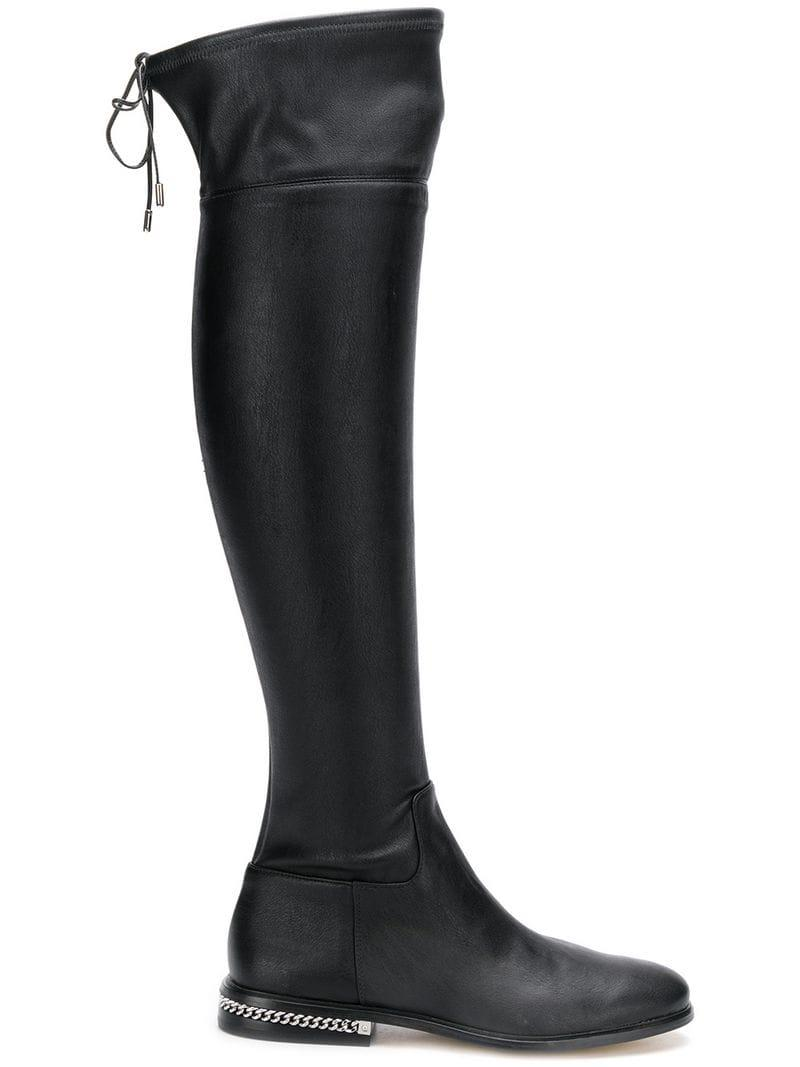 8ddb5da18030 Lyst - MICHAEL Michael Kors Chain Trim Knee-high Boots in Black