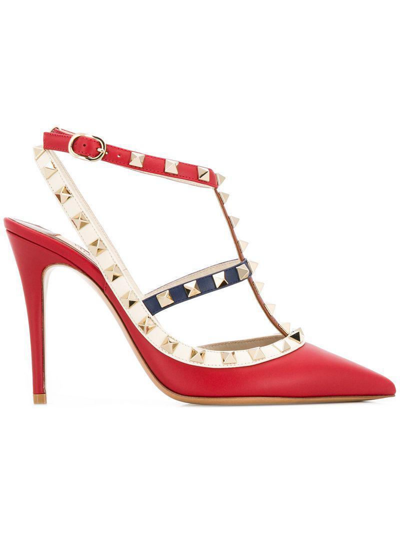 1457ac972918 Lyst - Valentino Garavani Rockstud Pumps in Red