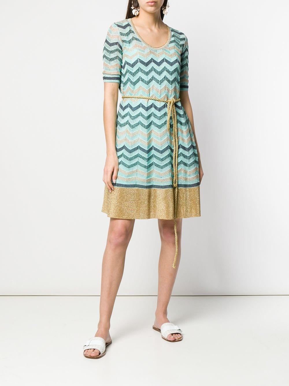 ee43e63825bc8 M Missoni Zigzag Pattern Knitted Dress in Blue - Lyst