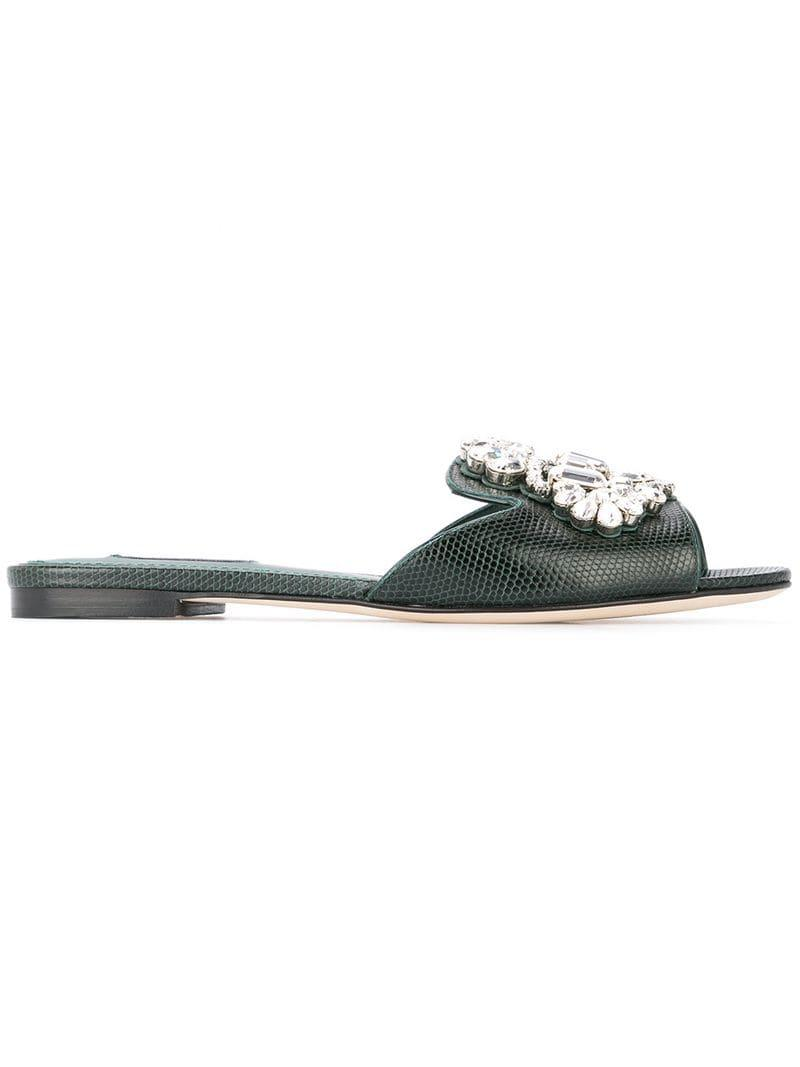 f1d25742044 Lyst - Dolce   Gabbana Embellished Mules in Green