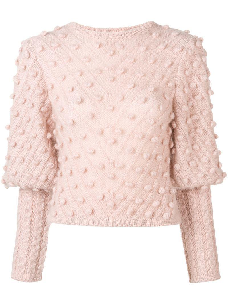 Zimmermann Jumper Pom Lyst Knit Pink In rPrpqw
