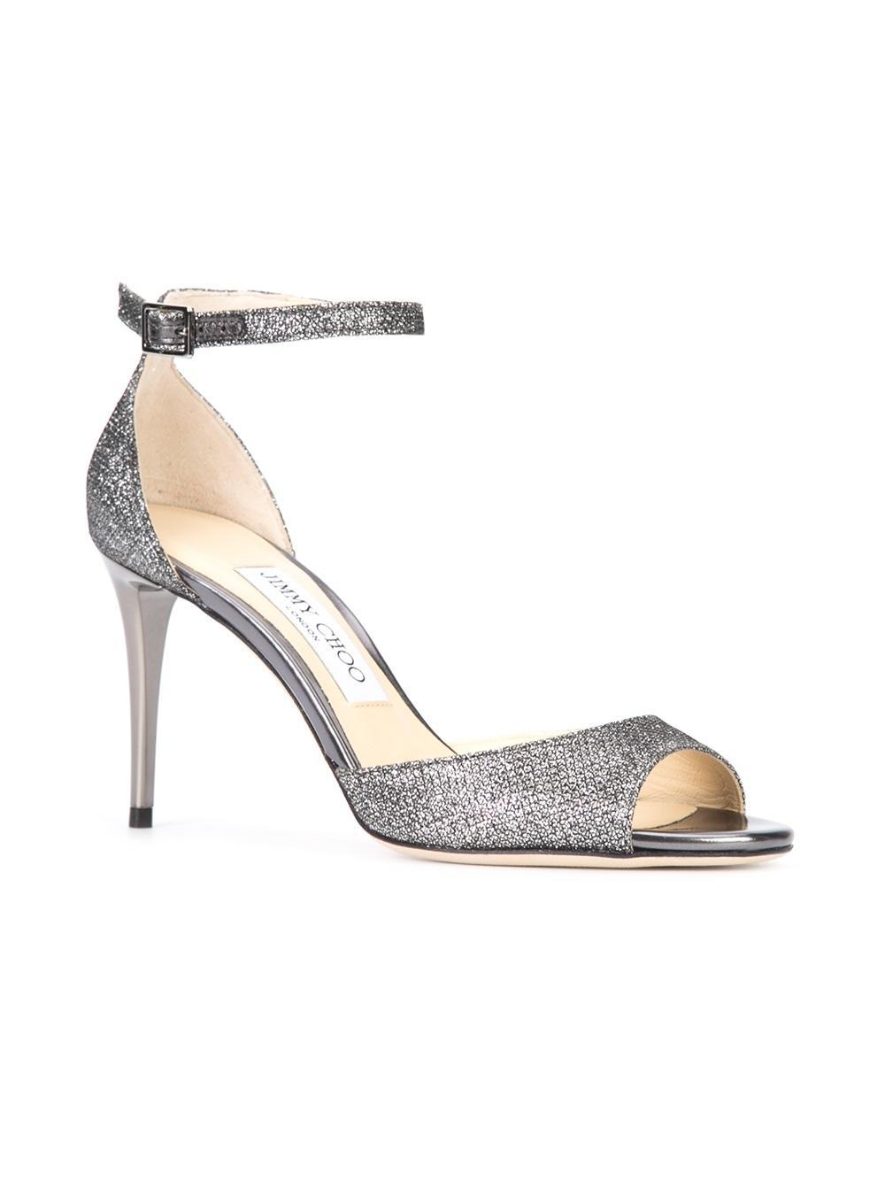19fa3674bc5 Lyst - Jimmy Choo Annie 85 Anthracite Lam Glitter Fabric Peep Toe Sandals  Anthracite 34 in Metallic - Save 30%