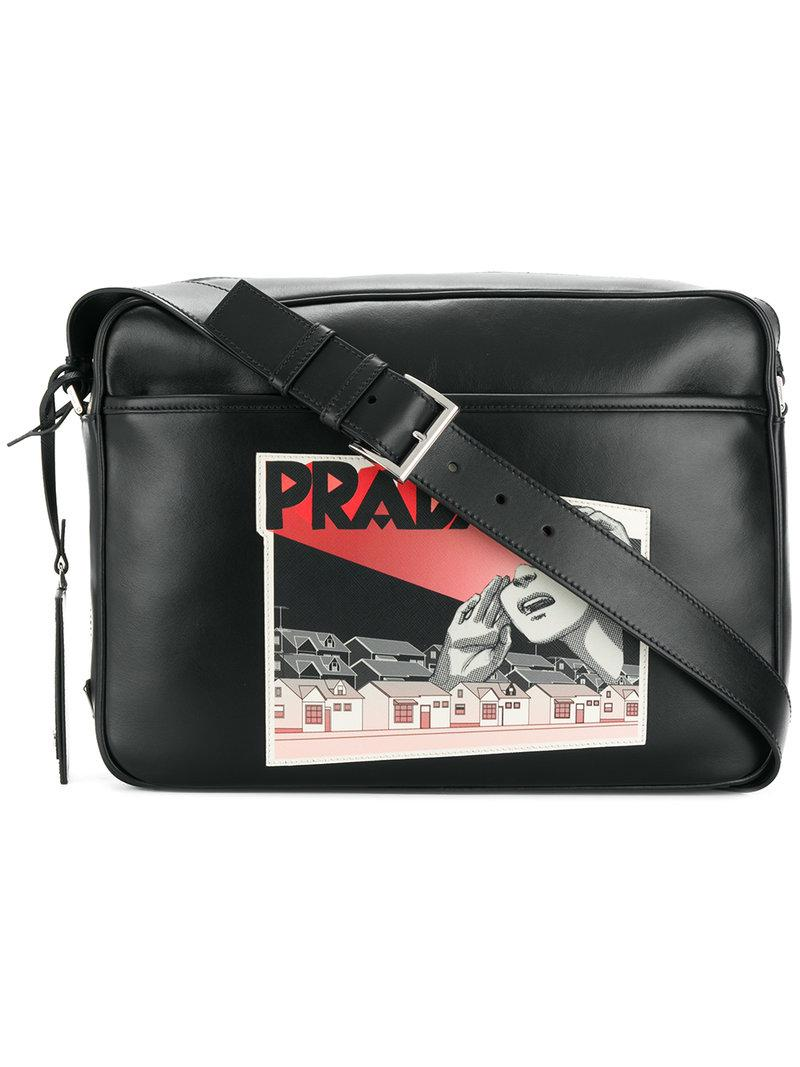 cd7bf4c1be1e Prada Comic Logo-print Shoulder Bag in Black for Men - Lyst
