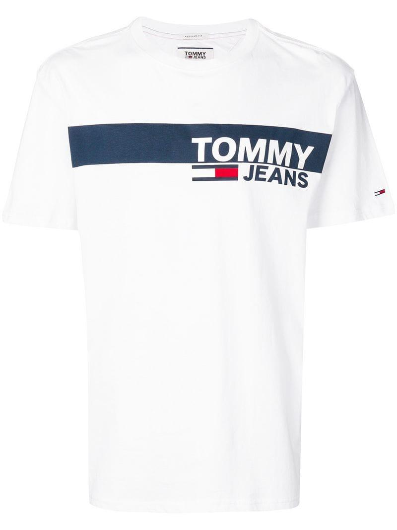 3f4d53a9a8b826 Tommy Hilfiger Logo Print T-shirt in White for Men - Lyst