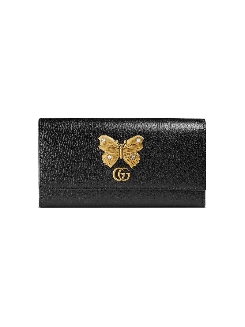 24a83dad05561c Gucci Farfalla Leather Continental Wallet in Black - Lyst