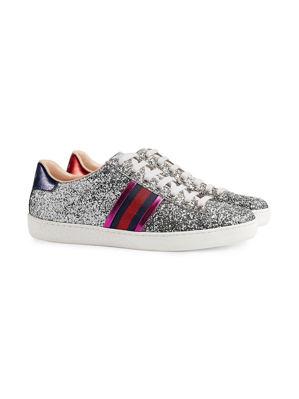 3c1d512d6 Lyst - Gucci Ace Glitter Low-top Sneaker in Gray
