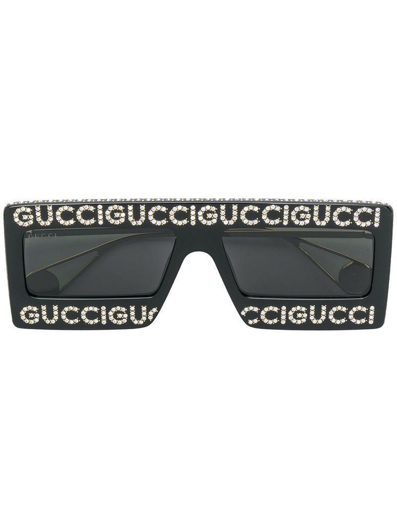 5c1df9d8bf Gafas de sol con montura estilo máscara Gucci de color Negro - Lyst