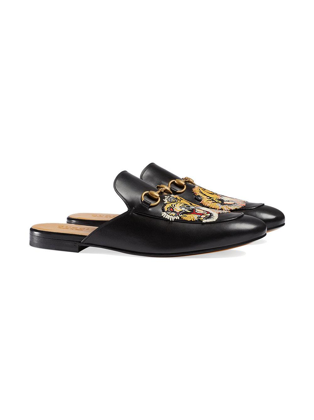0d2009f123c Lyst - Gucci Princetown Embroidered Slippers in Black for Men