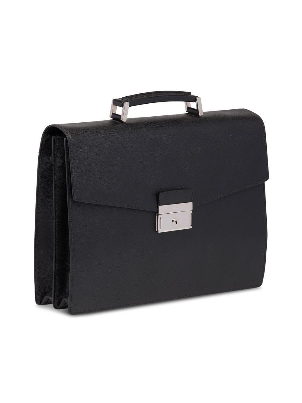 0b399a108845 Prada Saffiano Leather Briefcase in Black for Men - Lyst