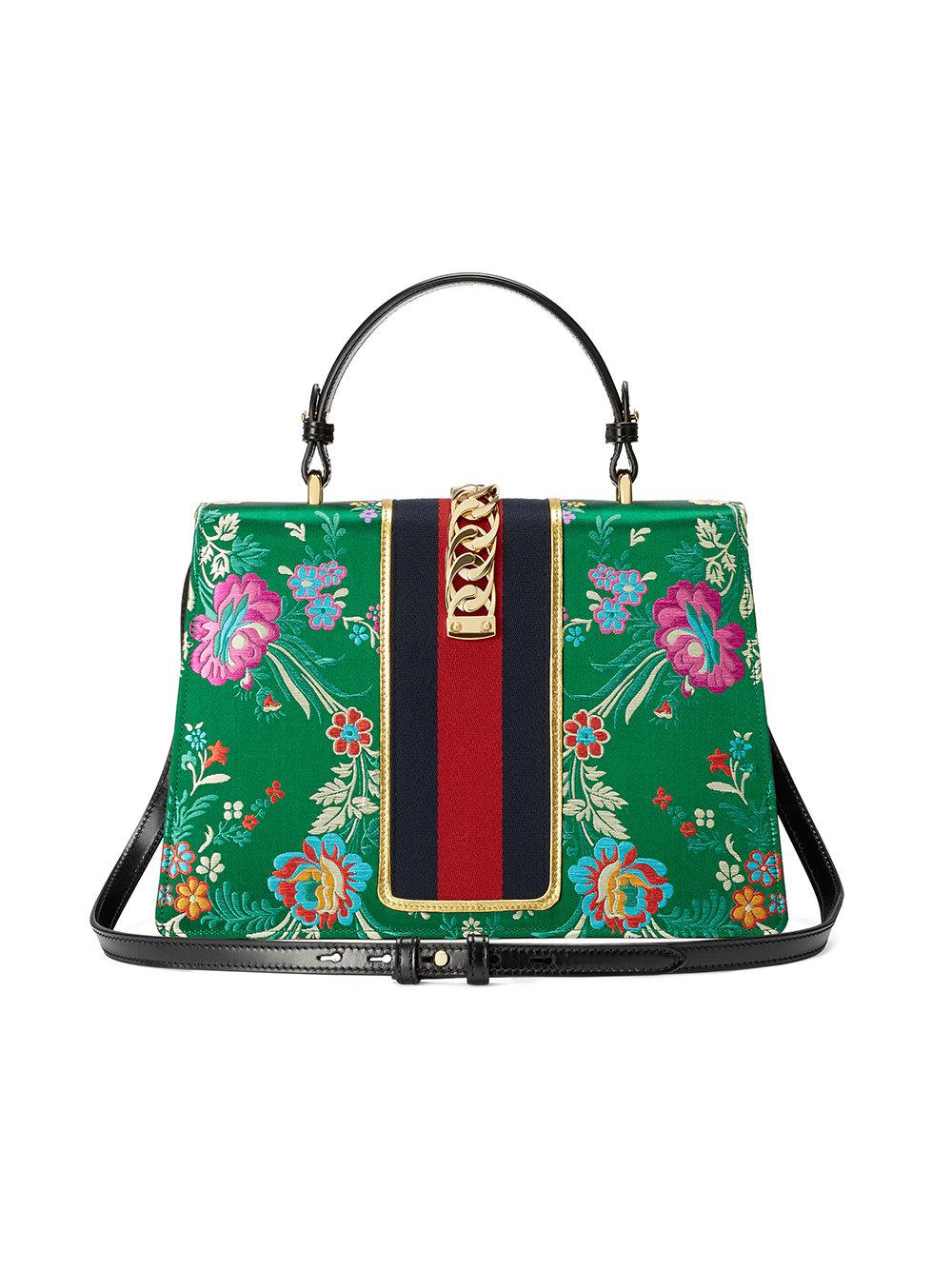 eb99b617563 Gucci Sylvie Floral Jacquard Top Handle Bag in Green - Save  12.805755395683448% - Lyst