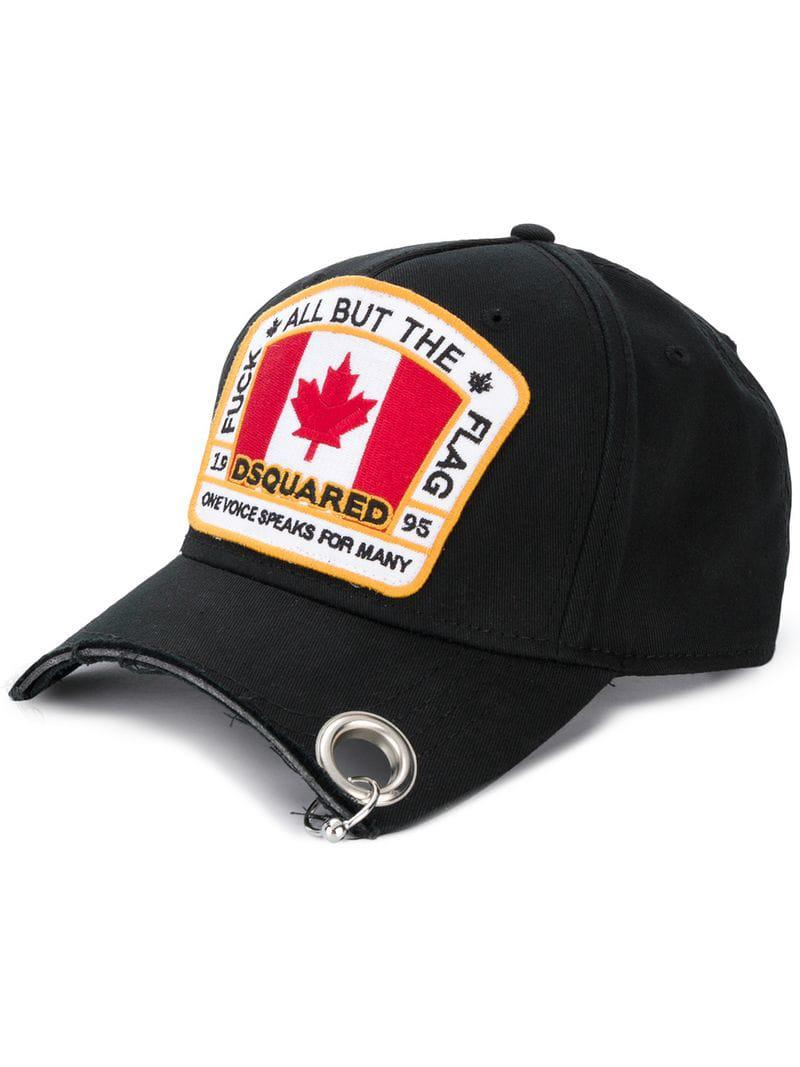 85a6bd4c34c82 Lyst - Dsquared² Canadian Flag Patch Baseball Cap in Black for Men