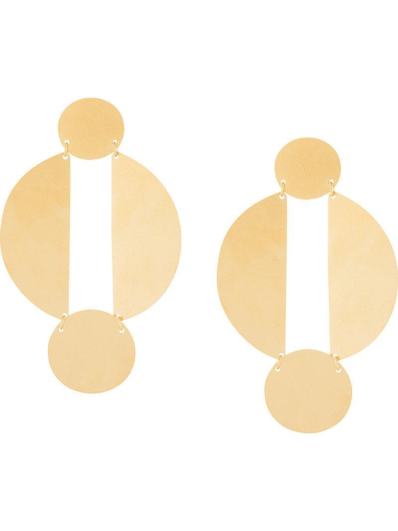 long split circle earrings - Metallic Annie Costello Brown tC0TCxr5