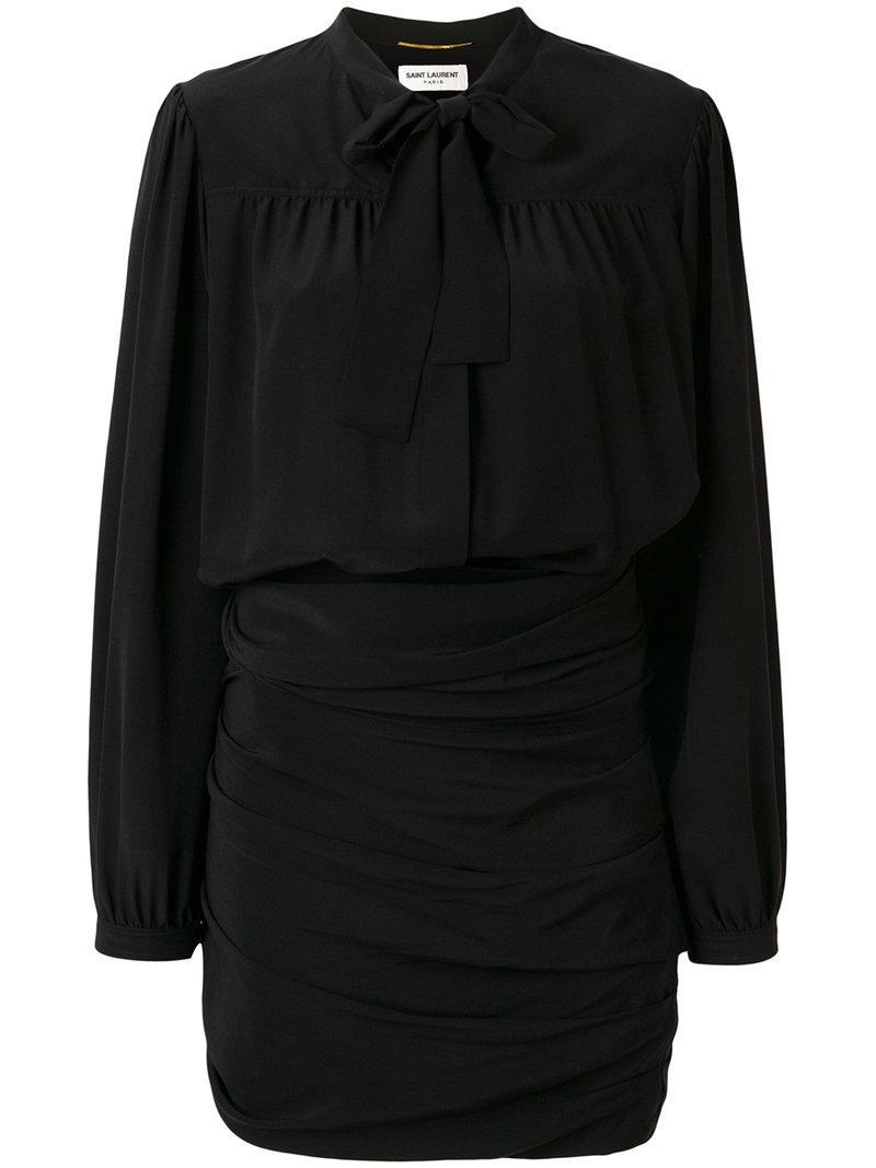 ruched pussy bow shirt dress - Black Saint Laurent rWfaDOKq